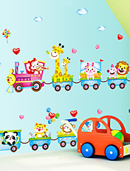 Cartoon Animals Park Driving a Train Wall Stickers Kindergarten Background Children's Bedroom Wall Decals