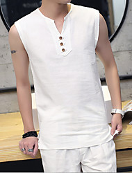 cheap -Men's Daily Sports Plus Size Casual Summer Tank Top,Solid Round Neck Sleeveless Linen