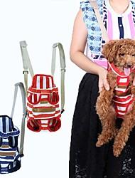 ネコ 犬 キャリーバッグ フロントバックパック ペット用 キャリア 携帯用 高通気性 縞柄 レッド ブルー