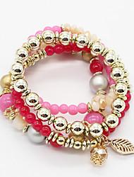 Fashion Bohemian Leaves Multi layer Charm Bracelet Resin Beaded Charm Bracelets Women Jewelry