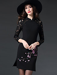 Women's Embroidery Plus Size / Going out Street chic Shift Dress,Print Crew Neck Above Knee Long Sleeve Red / Black Polyester Fall