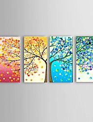 cheap -Oil Painting Hand Painted - Abstract Landscape Still Life Floral/Botanical Fantasy European Style Modern Pastoral Four Panels
