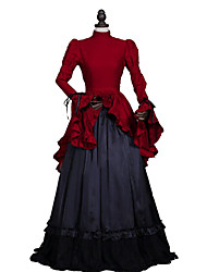 One-Piece Gothic Lolita Steampunk®/Victorian Edwardian Style Vampire Cosplay Lolita Dress Red/Black Solid Long Sleeve Dress For Women