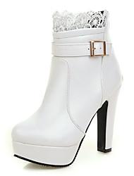 Women's Boots Winter Platform Bootie Wedding / Party & Evening / Dress Chunky HeelBuckle / Stitching Lace /