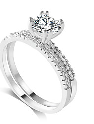 cheap -Women's Zircon Princess Band Ring - Classic / Fashion Silver Ring For Wedding / Party / Party / Evening