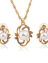 baratos -Mulheres Conjunto de jóias - Imitação de Pérola, Imitações de Diamante Fashion Incluir Dourado Para Diário / Escritório e Carreira / Brincos