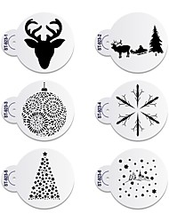 cheap -6pcs/lots Merry Christmas Deer Decorative Cookies Stencil Plastic Stencil for Coffee ST-923