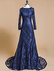 Mermaid / Trumpet Jewel Neck Court Train Lace Formal Evening Dress with Lace by Shang Shang Xi