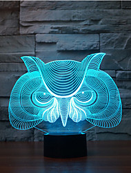cheap -Owl Touch Dimming 3D LED Night Light 7Colorful Decoration Atmosphere Lamp Novelty Lighting Light