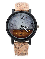 Herrn Kleideruhr Modeuhr Uhr Holz Quartz Mond Phase / Leder Band Bequem Braun