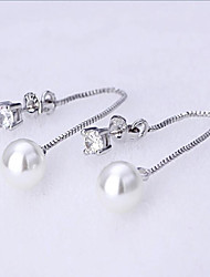 cheap -Women's Cute / Adorable Tassel Sterling Silver / Imitation Pearl / Zircon - Personalized / Tassel / Party Silver Round Earrings For
