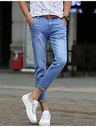 cheap -Men's Cotton Slim Jeans Pants - Solid Colored Basic