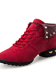 cheap -Women's Dance Sneakers / Modern Shoes Leather Boots / Sneaker Low Heel Non Customizable Dance Shoes Black / Red / Practice