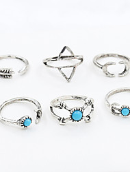 Ring Fashion / Adjustable Daily / Casual Jewelry Women / Men Midi Rings / Band Rings 1set,One Size Silver