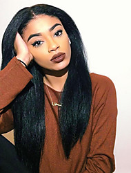 cheap -Human Hair Lace Wig Yaki Straight Lace Front 100% Hand Tied African American Wig Natural Hairline 130% Density natural black Short Medium