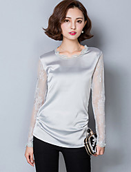 cheap -Summer / Fall Daily/Plus Size Women's Tops Solid Color Lace Splicing Round Neck Long Sleeve Slim Blouse T-shirt