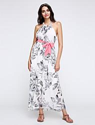 Women's Boho Vintage Sexy Print Cute Maxi Plus Sizes Inelastic Sleeveless Dress (Chiffon)