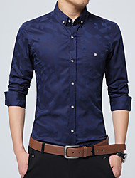 Men's Solid Casual / Work / Formal / Plus Size ShirtCotton / Polyester Long Sleeve Black / Blue / Red / White