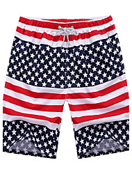 Men's Striped American Flag Print Sport Summer Casual Loose Quick-drying Surf Shorts Large Size Straight  Beach Pants