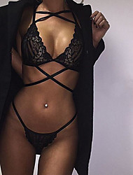 Women Lace Lingerie Nightwear,Sexy Lace Jacquard-Thin Lace Black