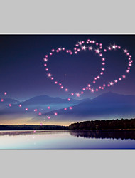 E-HOME® Stretched LED Canvas Print Art Love In The Sky Wonderland LED Flashing Optical Fiber Print