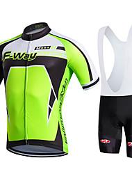Fastcute Maillot et Cuissard à Bretelles de Cyclisme Homme Femme Enfant Unisexe Manches Courtes Vélo Cuissard à bretelles Maillot Collant