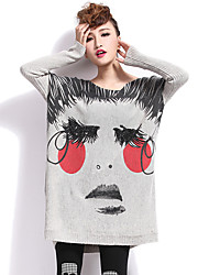 cheap -Women's Daily Cute Long Pullover,Print Round Neck Long Sleeves Wool Cotton Winter Fall Medium Micro-elastic