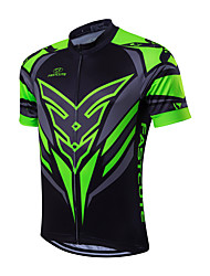 cheap -Fastcute Men's Short Sleeves Cycling Jersey - Green/Black Bike Jersey, Quick Dry, Breathable, Sweat-wicking