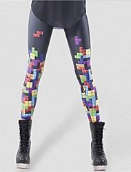Недорогие -женская цифровая печать 7-цветные клетчатые нижние штаны русская квадратная игра стиль legging, полиэстер
