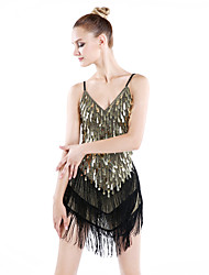cheap -Latin Dance Dresses Women's Performance Spandex Polyester Sequins Tassel(s) 1 Piece Dress