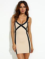 cheap -Women's Party Sexy Bodycon Dress,Plaid Deep V Above Knee Sleeveless Summer Mid Rise Micro-elastic Thin