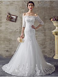 Mermaid / Trumpet Off-the-shoulder Sweep / Brush Train Organza Wedding Dress with Beading by DRRS