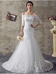 Sereia / trompete off-the-shoulder sweep / escova trem organza vestido de casamento com beading by drrs