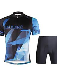 baratos -ILPALADINO Homens Manga Curta Camisa com Shorts para Ciclismo - Preto Moto Conjuntos de Roupas, Tapete 3D, Secagem Rápida, Resistente