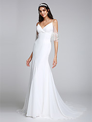 Mermaid / Trumpet Spaghetti Straps Court Train Chiffon Wedding Dress with Beading by LAN TING BRIDE®