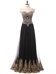 A-Line Sweetheart Floor Length Tulle Formal Evening Dress with Appliques Ruffles by DRRS