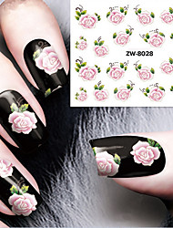 Fashion Printing Pattern Water Transfer Printing Gouache Flower Rose Nail Stickers