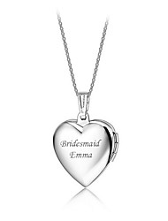 Personalized Heart Shape Necklace Pendant Bridesmaids Necklaces Love Jewelry Silver Alloy Wedding With Gift Box