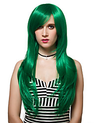 The green long adductor level straight hair, fashion wigs.