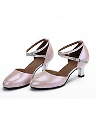 "cheap -Women's Modern Leather Heel Performance Outdoor Buckle Hollow-out Cuban Heel Silver Fuchsia Blue Pink 2"" - 2 3/4"" Customizable"