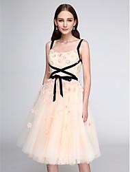 preiswerte -A-Linie Riemen Knie-Länge Tüll Cocktailparty / Abschlussball / Abiball Kleid mit Blume durch TS Couture®