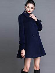 baratos -Feminino Casaco Para Noite / Tamanhos Grandes Moda de Rua Outono / Inverno, Sólido Azul Cashmere / Poliéster Colarinho de Camisa-Manga