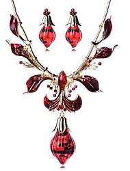 baratos -Mulheres Conjunto de jóias - Resina Caído Vintage, Boêmio, Europeu Incluir Colar / Brincos Dourado / Vermelho Para Festa / Diário / Casual / Colares