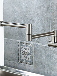 Contemporary/Modern Nickel Brushed Centerset Rotatable Widespread Pull-out Brass Kitchen faucet