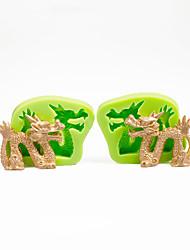 Decorações de bolo moldes de dragão chinês conjunto de molde de silicone para chocolate argila de polímero ferramentas de sugarcraft cor aleatória
