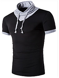 Men's Sports Casual/Daily Summer T-shirt,Solid Stand Short Sleeve Cotton
