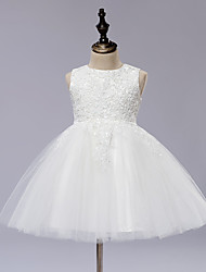 cheap -A-Line Knee Length Flower Girl Dress - Lace Satin Tulle Sleeveless Jewel Neck with Appliques by LAN TING BRIDE®