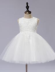 une ligne de genou longueur robe de fille fleur - dentelle tul satin robe sans manches avec applique par les anges