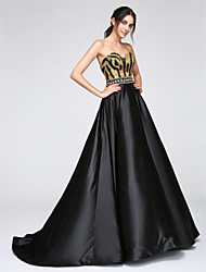 A-Line Sweetheart Floor Length Satin Formal Evening Dress with Sequins by TS Couture®