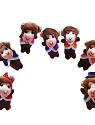 7PCS Five Little Monkeys Jumping on The Bed Plush Finger Puppets Kids Talk Prop